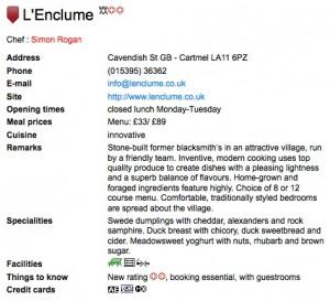 Michelin webite screenshot of L'Enclume showing two Michelin stars